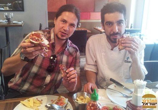 ארקדי והשף מתן אברהמס במסעדת הדסון ברסרי